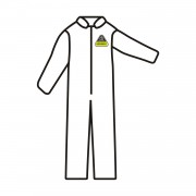 DEFENDER 2™ WHITE MICROPOROUS COVERALL, ZIPPER FRONT WITH FLAP & COLLAR, OPEN WRISTS & ANKLES, NO ELASTIC