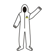 DEFENDER 2™  WHITE MICROPOROUS COVERALL WITH HOOD & BOOTS, ZIPPER FRONT WITH FLAP, ELASTIC WAIST, WRIST, ANKLES, HOOD & BOOTS