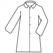 DEFENDER 2™, WHITE MICROPOROUS LABCOAT WITH 4-SNAP FRONT & COLLAR, NO POCKETS, OPEN WRISTS