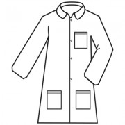 DEFENDER 2™, WHITE MICROPOROUS LABCOAT WITH 4-SNAP FRONT & COLLAR, 3 POCKETS, OPEN WRISTS