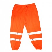 COR-BRITE™ CLASS E, ORANGE MESH PANTS, 2-INCH SILVER REFLECTIVE TAPE, ELASTIC WAIST WITH DRAWSTRING AND BARREL CLOSURE, HOOK & LOOP ANKLE CLOSURES, BACK POCKET