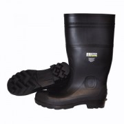 BLACK BOOT WITH BLACK PVC SOLE, EVA INSOLE, PLAIN TOE, UNLINED, 16-INCH LENGTH, OVER-THE-SOCK STYLE, SIZE 6