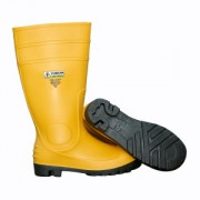 YELLOW PVC BOOT WITH BLACK PVC SOLE, EVA INSOLE, STEEL TOE & MIDSOLE, COTTON LINED, 16-INCH LENGTH, OVER-THE-SOCK STYLE, SIZE 6