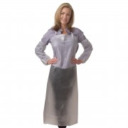 "6 MIL CLEAR VINYL APRON, TIE STRINGS & SEWN EDGES, 36"" X 48"""