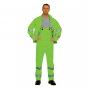 RIPTIDE™.35 MM PVC/POLYESTER, HI-VIS LIME, 3-PIECE RAIN SUIT, SILVER REFLECTIVE STRIPES, STORM FLY FRONT WITH ZIPPER/SNAP BUTTONS, BIB PANTS WITH SUSPENDERS, DETACHABLE HOOD