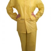 VALUE-LINE™ .10 MM PVC, YELLOW 3-PIECE RAIN SUIT, OPEN FRONT WITH SNAP BUTTONS, ELASTIC WAIST PANTS, DETACHABLE HOOD