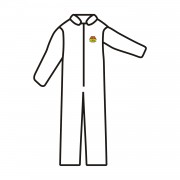 C-MAX™ WHITE SMS COVERALL, ZIPPER FRONT AND COLLAR, ELASTIC WAIST, OPEN WRISTS & ANKLES