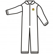 C-MAX™ WHITE SMS COVERALL, ZIPPER FRONT AND COLLAR, ELASTIC WAIST, WRISTS & ANKLES