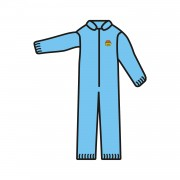 C-MAX™ BLUE SMS COVERALL, ZIPPER FRONT AND COLLAR, ELASTIC WAIST, WRISTS & ANKLES