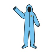 C-MAX™ BLUE SMS COVERALL WITH HOOD & BOOTS, ZIPPER FRONT, ELASTIC AT WAIST, WRISTS, ANKLES, HOOD & BOOTS
