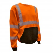COR-BRITE™ CLASS 3 ORANGE CREW NECK SWEATSHIRT, 300 GRAM POLYESTER FLEECE, BLACK POUCH POCKET, FRONT PANEL AND FOREARMS