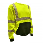 COR-BRITE™ CLASS 3 LIME CREW NECK SWEATSHIRT, 300 GRAM POLYESTER FLEECE, BLACK POUCH POCKET, FRONT PANEL AND FOREARMS