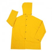 STORMFRONT™ .35 MM PVC/POLYESTER, YELLOW 2-PIECE RAIN JACKET, CORDUROY COLLAR, STORM FLY FRONT WITH ZIPPER/SNAP BUTTONS, DETACHABLE HOOD