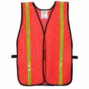 GENERAL PURPOSE, NON-RATED, ORANGE MESH VEST, HOOK & LOOP CLOSURE, 1-INCH LIME REFLECTIVE TAPE
