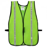 GENERAL PURPOSE, NON-RATED, LIME MESH VEST, HOOK & LOOP CLOSURE, 1-INCH SILVER REFLECTIVE TAPE