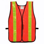 GENERAL PURPOSE, NON-RATED, LIME MESH VEST, HOOK & LOOP CLOSURE, 2-INCH SILVER REFLECTIVE TAPE