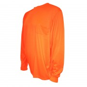 COR-BRITE™ NON-RATED, ORANGE BIRDSEYE MESH T-SHIRT, LONG SLEEVES, CHEST POCKET