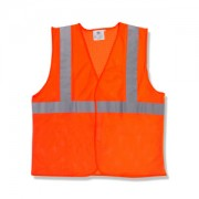 CLASS 2, ORANGE MESH VEST, HOOK & LOOP CLOSURE, 2-INCH SILVER REFLECTIVE TAPE