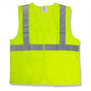 CLASS 2, LIME SOLID FABRIC VEST, HOOK & LOOP CLOSURE, 2-INCH SILVER REFLECTIVE TAPE