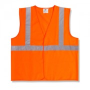 CLASS 2, ORANGE SOLID FABRIC VEST, HOOK & LOOP CLOSURE, 2-INCH SILVER REFLECTIVE TAPE