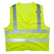 CLASS 2, LIMITED FR LIME MESH VEST, HOOK & LOOP CLOSURE, 2-INCH SILVER REFLECTIVE TAPE, ONE INSIDE LOWER POCKET & ONE OUTSIDE CHEST POCKET, OUTSIDE 3-DIVISION PEN POCKET, MIC TAB