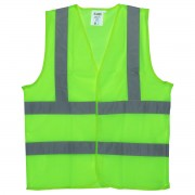 CLASS 2, LIME MESH VEST, HOOK & LOOP CLOSURE, INSIDE POCKET, TWO HORIZONTAL 2-INCH SILVER REFLECTIVE STRIPES