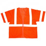 COR-BRITE™ CLASS 3, ORANGE MESH VEST, ZIPPER CLOSURE, 2-INCH SILVER REFLECTIVE TAPE, POCKETS: TWO INSIDE LOWER, ONE OUTSIDE LOWER, CHEST WITH 4-DIVISION PEN POCKET