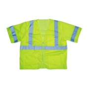 COR-BRITE™ CLASS 3, LIME MESH VEST, ZIPPER CLOSURE, 2-INCH SILVER REFLECTIVE TAPE, POCKETS: TWO INSIDE LOWER, ONE OUTSIDE LOWER, CHEST WITH 4-DIVISION PEN POCKET