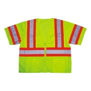 COR-BRITE™ CLASS 3, LIME MESH VEST, ZIPPER CLOSURE, TWO-TONE CONTRASTING TRIM/REFLECTIVE TAPE, POCKETS: TWO INSIDE LOWER, TWO OUTSIDE CHEST, TWO OUTSIDE LOWER