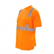 COR-BRITE™ CLASS 2, ORANGE BIRDSEYE MESH T-SHIRT, SHORT SLEEVES, CHEST POCKET, 2-INCH SILVER REFLECTIVE TAPE