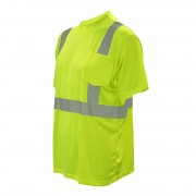 COR-BRITE™ CLASS 2, LIME BIRDSEYE MESH T-SHIRT, SHORT SLEEVES, CHEST POCKET, 2-INCH SILVER REFLECTIVE TAPE