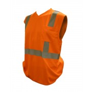 COR-BRITE™ CLASS 2, ORANGE BIRDSEYE MESH T-SHIRT, SLEEVELESS, CHEST POCKET, 2-INCH SILVER REFLECTIVE TAPE