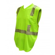 COR-BRITE™ CLASS 2, LIME BIRDSEYE MESH T-SHIRT, SLEEVELESS, CHEST POCKET, 2-INCH SILVER REFLECTIVE TAPE