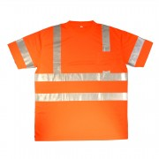 COR-BRITE™ CLASS 3, ORANGE BIRDSEYE MESH T-SHIRT, SHORT SLEEVES, CHEST POCKET, 2-INCH SILVER REFLECTIVE TAPE