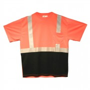 COR-BRITE™ CLASS 2, ORANGE BIRDSEYE MESH T-SHIRT, SHORT SLEEVES, CHEST POCKET, 2-INCH SILVER REFLECTIVE TAPE, BLACK FRONT PANEL