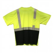 COR-BRITE™ CLASS 2, LIME BIRDSEYE MESH T-SHIRT, SHORT SLEEVES, CHEST POCKET, 2-INCH SILVER REFLECTIVE TAPE, BLACK FRONT PANEL