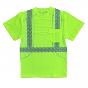 COR-BRITE™ CLASS 2, COMFORT STRETCH T-SHIRT, SHORT SLEEVES, CHEST POCKET, 2-INCH SILVER SEGMENTED REFLECTIVE TAPE