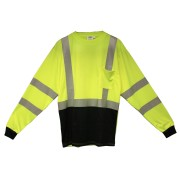 COR-BRITE™ CLASS 3, LIME BIRDSEYE MESH T-SHIRT, LONG SLEEVES, CHEST POCKET, 2-INCH SILVER REFLECTIVE TAPE, BLACK FRONT PANEL