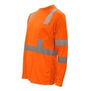 COR-BRITE™ CLASS 3, ORANGE BIRDSEYE MESH T-SHIRT, LONG SLEEVES, CHEST POCKET, 2-INCH SILVER REFLECTIVE TAPE