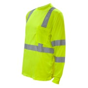 COR-BRITE™ CLASS 3, LIME BIRDSEYE MESH T-SHIRT, LONG SLEEVES, CHEST POCKET, 2-INCH SILVER REFLECTIVE TAPE