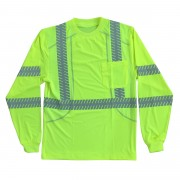 COR-BRITE™ CLASS 3, COMFORT STRETCH T-SHIRT, LONG SLEEVES, CHEST POCKET, 2-INCH SILVER SEGMENTED REFLECTIVE TAPE