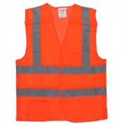 CLASS 2, 5-POINT BREAKAWAY VEST, ORANGE MESH, ONE OUTSIDE POCKET, ONE INSIDE POCKET WITH HOOK & LOOP CLOSURE, 2-INCH SILVER REFLECTIVE TAPE