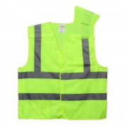 CLASS 2, 5-POINT BREAKAWAY VEST, LIME MESH, ONE OUTSIDE POCKET, ONE INSIDE POCKET WITH HOOK & LOOP CLOSURE, 2-INCH SILVER REFLECTIVE TAPE