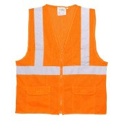CLASS 2, ORANGE MESH SURVEYORS VEST, ZIPPER CLOSURE, 2-INCH SILVER REFLECTIVE STRIPES, CHEST POCKET, TWO OUTSIDE LOWER AND TWO INSIDE LOWER POCKETS