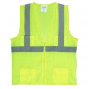 CLASS 2, LIME MESH SURVEYORS VEST, ZIPPER CLOSURE, 2-INCH SILVER REFLECTIVE STRIPES, CHEST POCKET, TWO OUTSIDE LOWER AND TWO INSIDE LOWER POCKETS