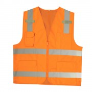 CLASS 2, ORANGE SURVEYORS VEST, SOLID FRONT AND MESH BACK, 2-INCH SILVER REFLECTIVE STRIPES, ZIPPER CLOSURE, MULTIPLE POCKETS FOR PAD/PEN, RADIO/PHONE, FLASHLIGHT, DUAL MIC TABS