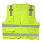 CLASS 2, LIME SURVEYORS VEST, SOLID FRONT AND MESH BACK, 2-INCH SILVER REFLECTIVE STRIPES, ZIPPER CLOSURE, MULTIPLE POCKETS FOR PAD/PEN, RADIO/PHONE, FLASHLIGHT, DUAL MIC TABS