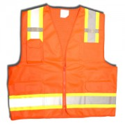 CLASS 2, ORANGE SURVEYORS VEST, SOLID FRONT AND MESH BACK, TWO-TONE CONTRASTING TRIM/REFLECTIVE STRIPES, ZIPPER CLOSURE, MULTIPLE POCKETS FOR PAD/PEN, RADIO/PHONE, FLASHLIGHT, DUAL MIC TABS