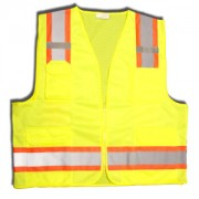 CLASS 2, LIME SURVEYORS VEST, SOLID FRONT AND MESH BACK, TWO-TONE CONTRASTING TRIM/REFLECTIVE STRIPES, ZIPPER CLOSURE, MULTIPLE POCKETS FOR PAD/PEN, RADIO/PHONE, FLASHLIGHT, DUAL MIC TABS