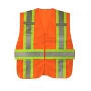 CLASS 2, ORANGE MESH EXPANDABLE VEST, TWO-TONE CONTRASTING TRIM/REFLECTIVE STRIPES, MULTIPLE POCKETS, DUAL MIC TABS, BADGE HOLDER